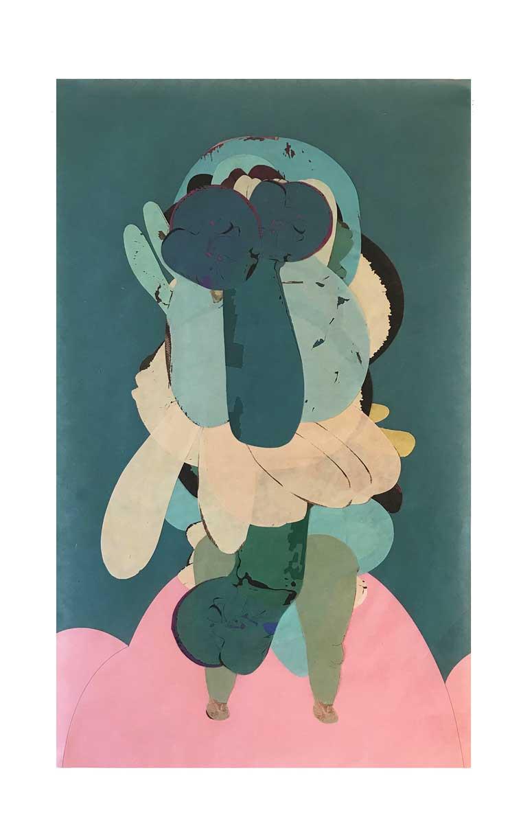 STRANGE FRUITS (18), de la serie NIGHTCLUBBING, 2017. Collage sobre papel. 64.5 x 39 cm