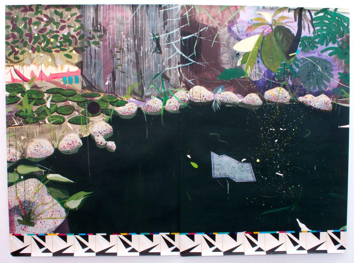 BODEGÓN ROUSSEAU, 2015. Acrílico y acuarela sobre papel. Díptico: 220 x 304 cm. MKL-0101