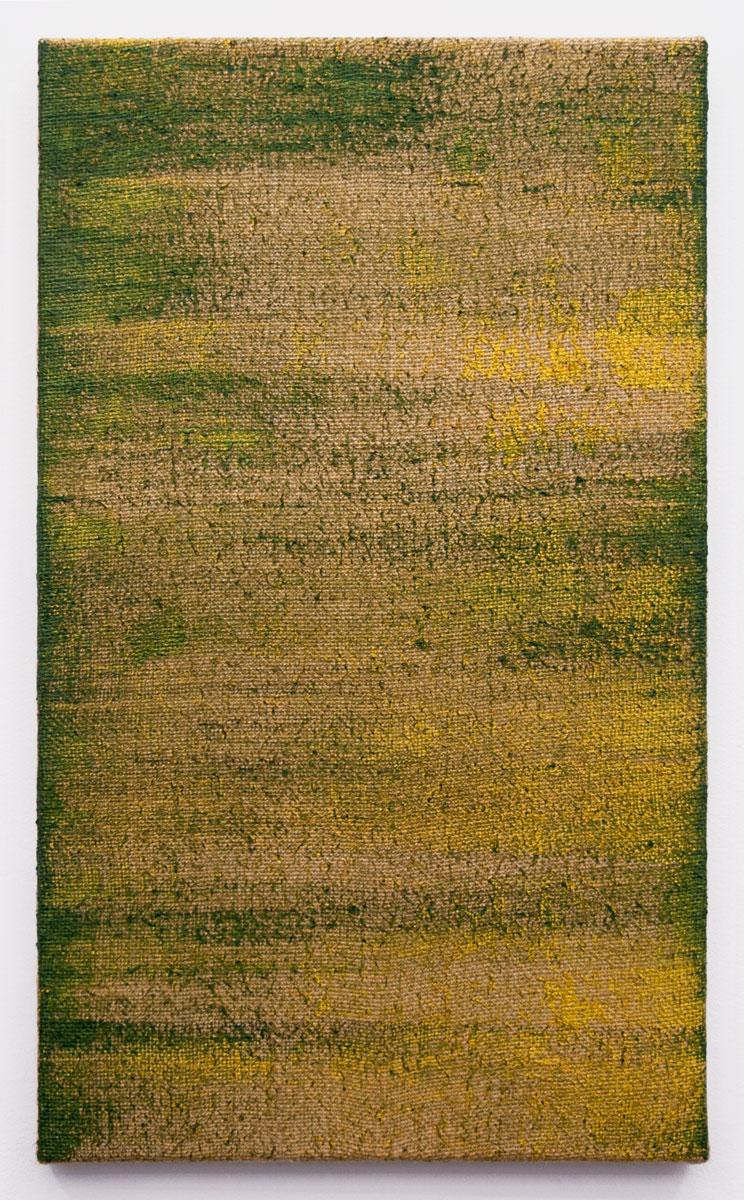 PENUMBROSO IV, 2015. Acrílico sobre arpillera, superpuesta en acrílico sobre lino. 55 x 33 cm