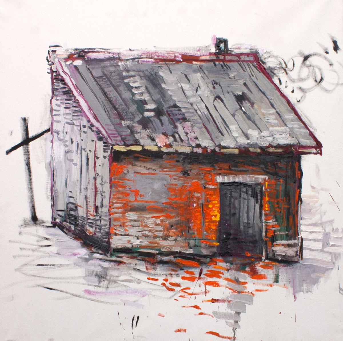 Abraham Lacalle. CABAÑA, 2016. Óleo sobre lienzo. 95.5 x 95.5 cm