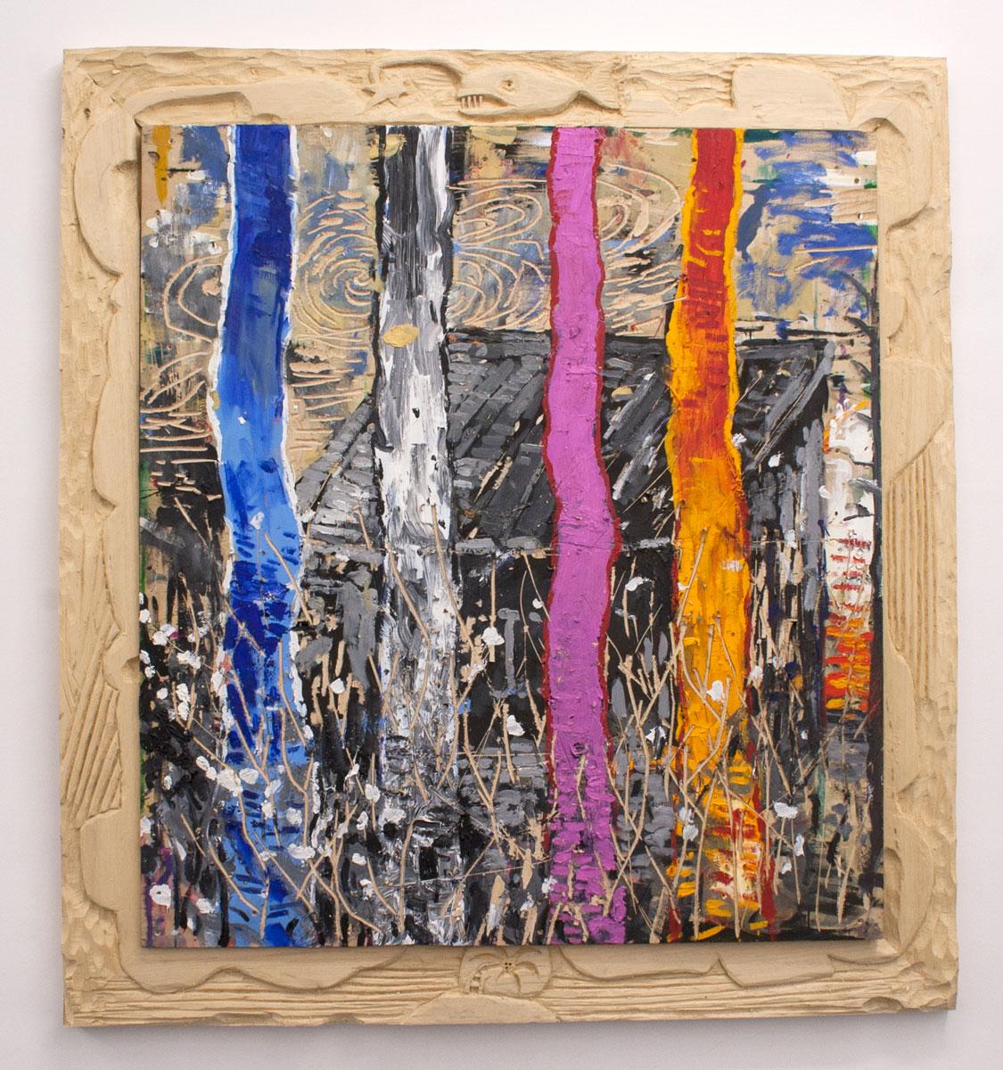 Abraham Lacalle. ABISAL, 2016. Óleo sobre madera y marco intervenido. 147 x 135 cm