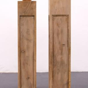 Abraham Lacalle. PATATAS, 2016. Madera. 104 x 19.5 x 19.5 cm; 106 x 19.5 x 19.5 cm