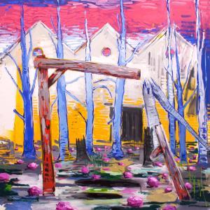 Abraham Lacalle. FIN DE CAMPO, 2016. Óleo sobre lienzo. 150 x 150 cm
