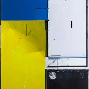 S/T (Pura apariencia neoplasticista P.M.), 2016. Óleo sobre lienzo. 250 x 174.5 cm