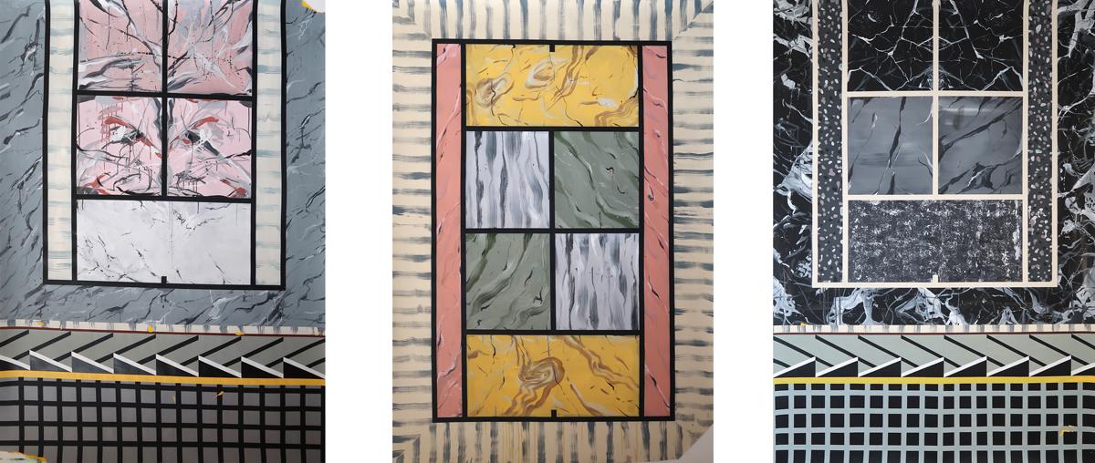 FORO ITÁLICO, 2017. Acrílico y acuarela sobre papel. Tríptico (3): 220 x 152 cm c/u