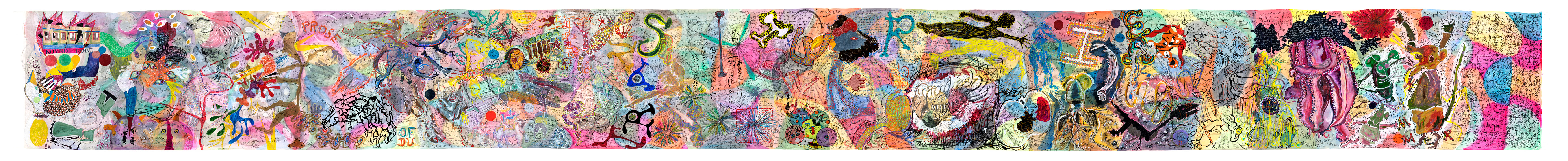 KOVNO/KOBE: PROSE OF THE TRANS-SIBERIAN, 2019. Técnica mixta sobre papel. 110 x 1170 cm. JH-0028